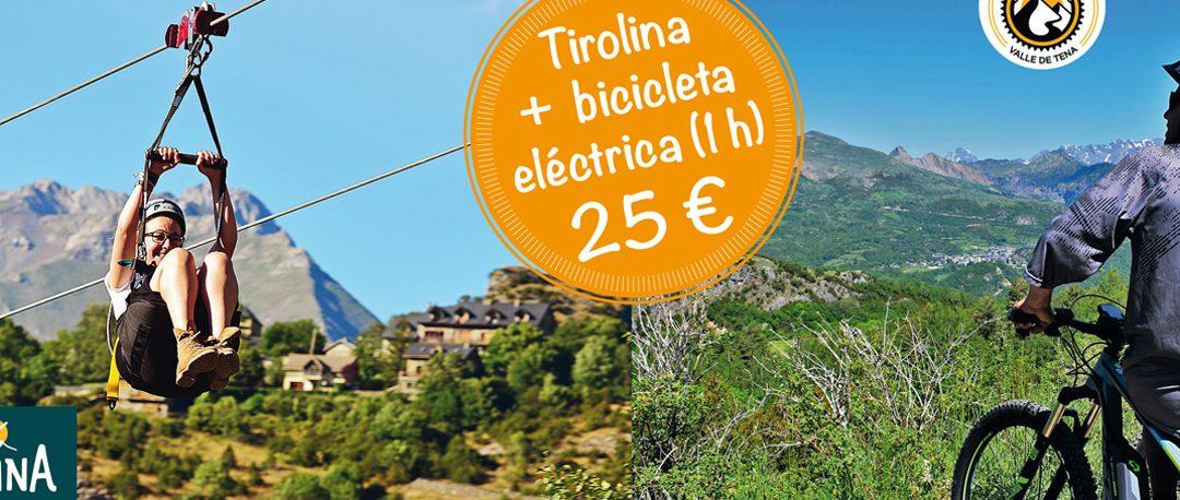 Promoción especial Tirolina + 1 h. de Bicicleta eléctrica : 25 €