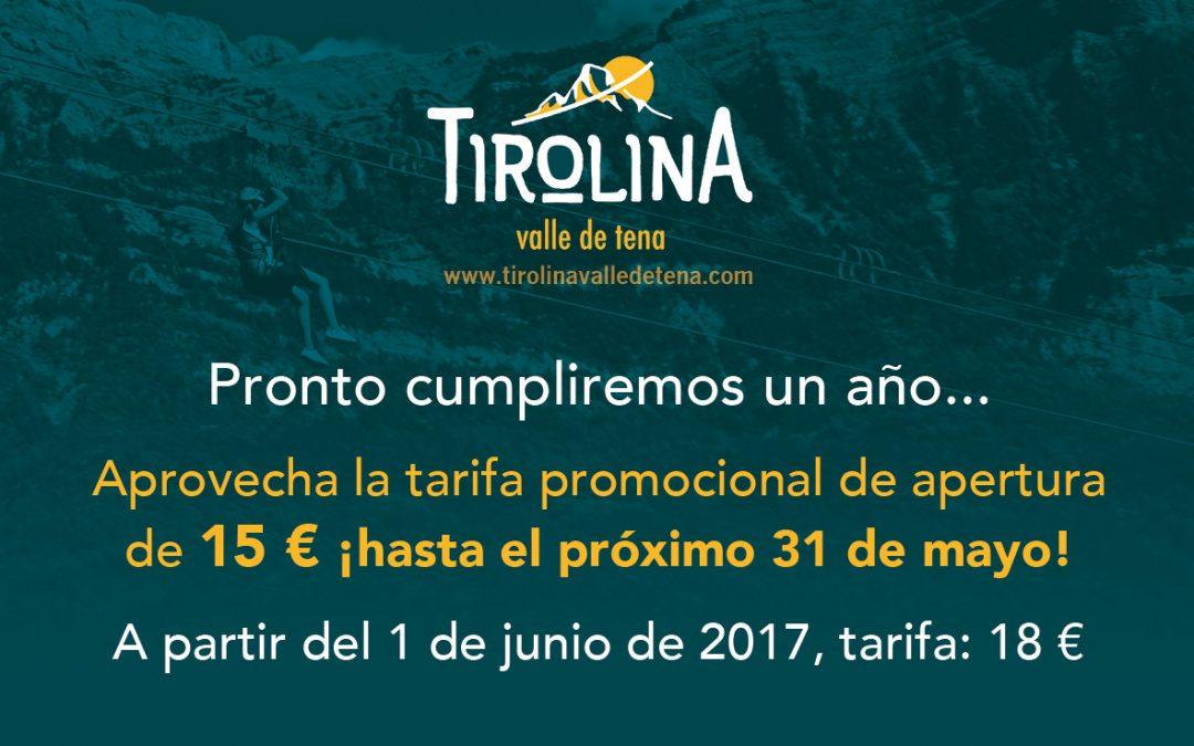 Tarifa promocional de 15 € hasta el 31 de mayo