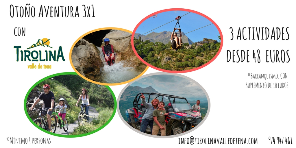 ¡Disfruta del Valle de Tena en OTOÑO con las ofertas Multiaventura de la Tirolina!