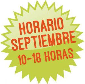 Horario septiembre: 10 a 18 h.