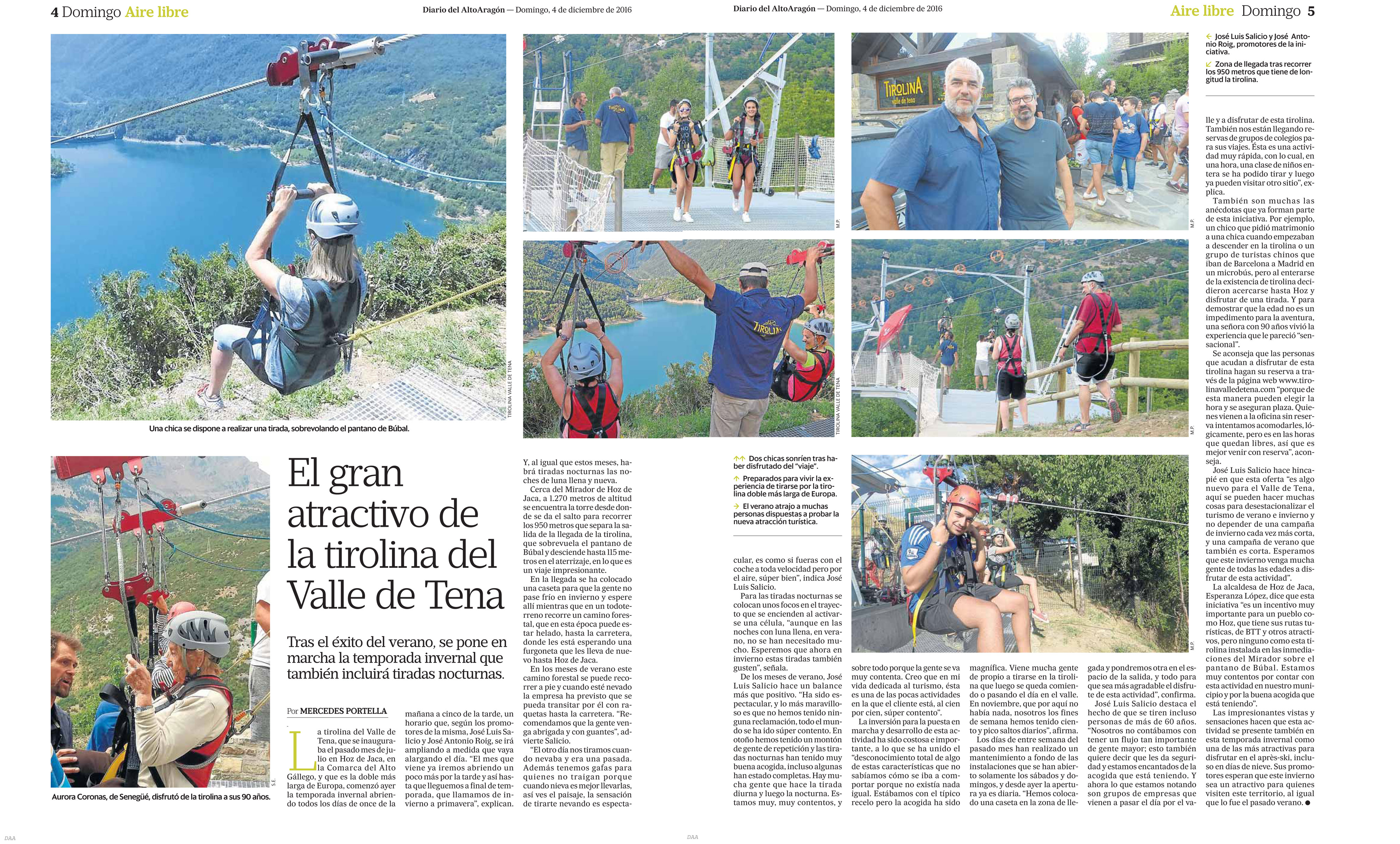 La Tirolina del Valle de Tena en el Diario del Altoaragón
