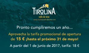 Pronto cumpliremos un año... Aprovecha la tarifa promocional de apertura de 15 € ¡hasta el próximo 31 de mayo! A partir del 1 de junio de 2017, tarifa: 18 €