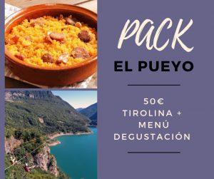 Pack el Pueyo, tirolina + menú degustación